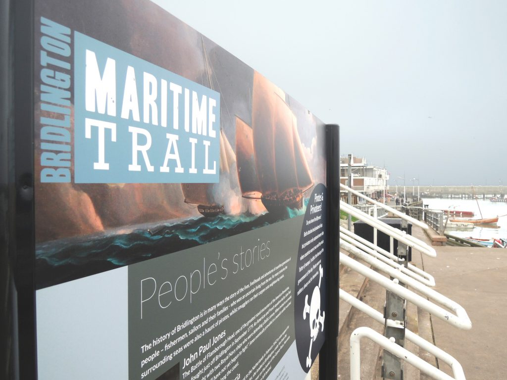 maritime trail wayfaring/info boards developed with the harbour comissioners, local fishermen and historians. [east riding of yorkshire council / holderness coast FLAG]