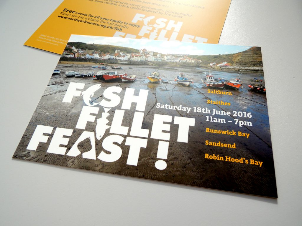 brand and design for festival celebrating local seafood. harbour photograph by tony bartholomew. [create / north york moors national park]