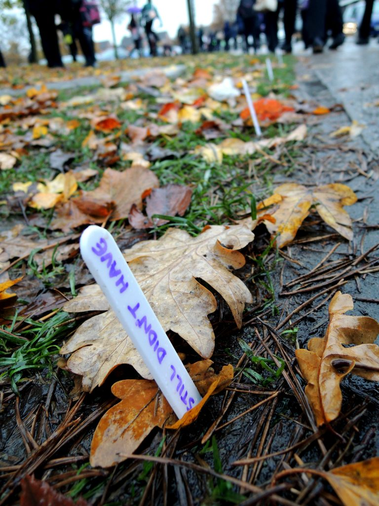 scratch site specific public art / storytelling with school pupils in lincolnshire. the sort of project i love doing, opening the eyes of young people to using words in creative ways. this one was a trail around the school grounds telling a pupils story of an eventful first day is school. [NK arts]
