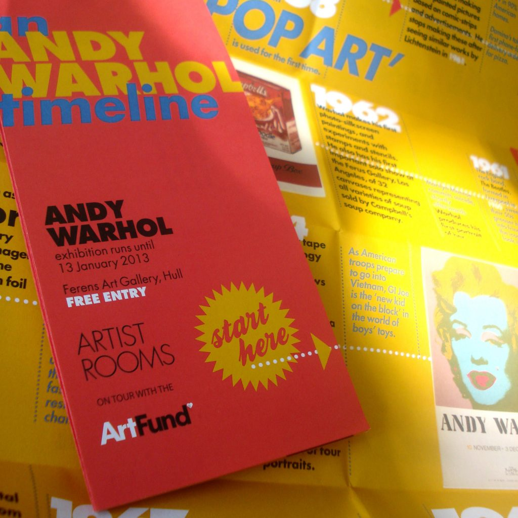 timeline handout accompanying andy warhol artist room exhibition. [tate / ferens gallery]
