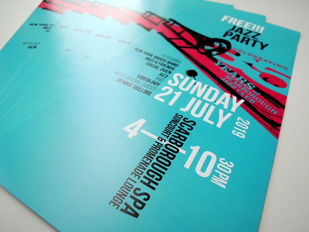 flyer and poster for mini jazz festival at scarborough spa